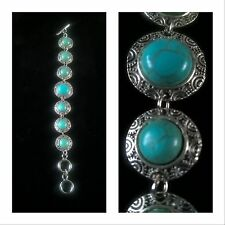 Bracelet aqua blue and silver tone ethnic style ( earrings & necklace available)