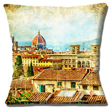"""NEW Vintage Retro Florence Italy Rooftops Old Mottled 16"""" Pillow Cushion Cover"""