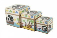 Pirate Print Storage Boxes - Set of 3 Cardboard Box - Boy Girl Bedroom Gift