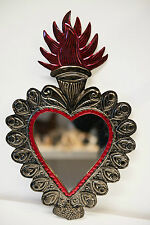 Tin Wall Hanging Heart Mirror Plaque Gift Mexican Handmade Silver Red Flames