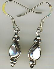 """925 Sterling Silver White Mother of Pearl Drop / Dangle Earrings Length 1.3/8"""""""