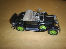 BLACK 1931 FORD MODEL A DELUXE ROADSTER by DANBURY MINT DIECAST MODEL 1:24 SCALE