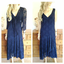Simply Be Size 16 18 Navy Blue Floral Lace Frill Front Midi DRESS & Shrug Party