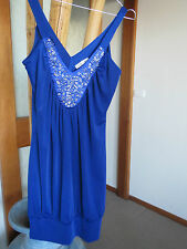 VALLEYGIRL SHINY BLUE SIZE SMALL (8-10) STRETCHY DRESS SEXY EMBELLISHED NECKLINE