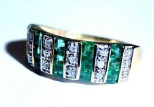 Gorgeous! 14K Yellow Gold Vivid Green Channel Set Emerald Diamond Ring Band 6.5