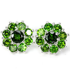 Sterling Silver 925 Stunning Genuine Natural Round Chrome Diopside Earrings