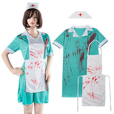 Zombie Bloody Nurse + Hat Ladies Halloween Fancy Dress Horror Womens Costume