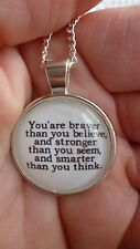 necklace pendant cabochon quote you are braver than you think  Winnie the Pooh