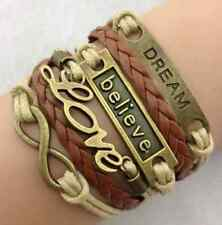 brown Infinity Love Anchor Believe Dream Bronze Leather Charm Bracelet one hs