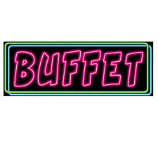 Neon Buffet Sign Cutout- Party Decorations - Neon Light Style Food Sign