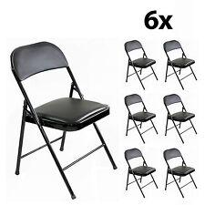 6 x Klappstuhl Faltstuhl Kunstleder schwarz Stuhl Metall gepolstert stabil set