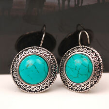 Hot Fashion Vintage Womens Silver Turquoise Stone Ear Stud Earring Charm Jewelry