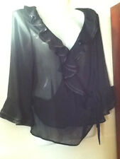 BNWOT**ELEGANT BLACK FRILL/RUFFLE DETAIL BLOUSE FROM SOON**SIZE 12**