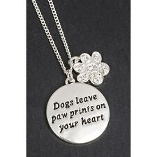 equilibrium silver plated dog paw print locket necklace gift boxed jewellery
