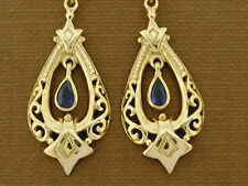 E096- Genuine 9ct 9K Solid Gold Natural Sapphire Earrings Vintage sty Chandelier
