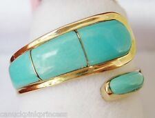 $2,499 - SOLID 14K GOLD GENUINE TURQUOISE WRAP AROUND RING size 8