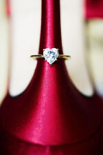 1.50 CT Heart Shaped Cut Solitaire LOVE Engagement Ring Solid 14k Yellow Gold