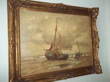 ,,Segelschiffe in Albufeira´´ Ölgemälde Öl auf Leinwand  UNIKAT Portugal 1911