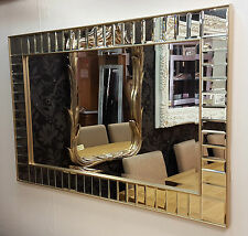 Art Deco Rectangular All Glass Wall Mirror Bevelled Champagne Frame 91x61cm