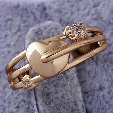 fashion jewellery Rose Gold Filled womens Crystal Round heart Lady rings size 7