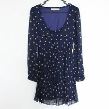 blue polka dot dress long sleeve button down skater pleated alexa chung size 10