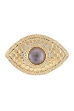 ANNA BECK Sterling Silver Gold Plated Faceted Amethyst Third Eye Ring Size 8