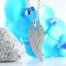 Halskette Statement Farbe Silber Bettelkette Collier Strass Engelsflügel Flügel