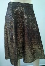 ASOS Size 10 Gold Black Shimmer Skirt Panel A Line Back Zip NEW w/tags $189