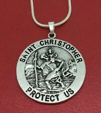 St Christopher Necklace Medal Charm Pendant and Chain Travel Saint religion