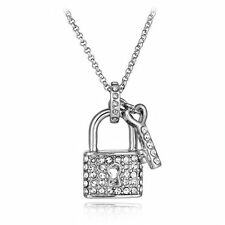 CRYSTAL LOCK & KEY PENDANT NECKLACE MADE WITH SWAROVSKI ELEMENTS SILVER PLATED