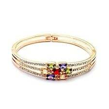 18K Gold GP Swarovski Crystal Elements MulticolorFashion Bangle Bracelet SF31462