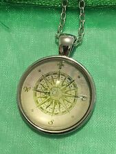 Vintage Compass Art Glass Cabochon Dome Pendant Necklace. Hand Made NEW