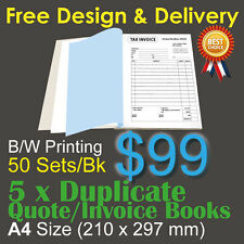 5 x A4 Customised Printed Duplicate QUOTE / Tax INVOICE Books +Free Design&Post