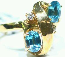 2.52CT 14K GOLD NATURAL ZIRCON ROUND CUT WHITE DIAMOND ESTATE ENGAGEMENT RING