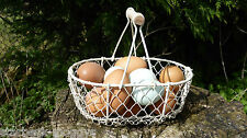VINTAGE EGG BASKET HOLDER STORAGE TRADITIONAL STYLE CREAM METAL SHABBY CHIC