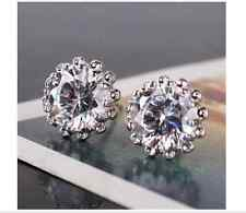 Delicate 18ct white Gold filled round white Topaz Crystal stud earrings Gift