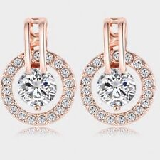 18K Rose Gold Plated Round Stud Earrings Swarovski Crystals Jewelry Gift