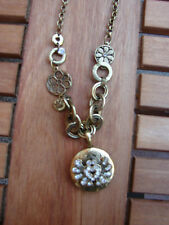 """East locket and  flower charm necklace with chunky chain, 18.25"""" chain"""