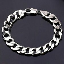 22cm 18K White Gold Plated Curb Chain Men's Traditional Bracelet Birthday Gift