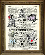 ALICE IN WONDERLAND MAD BONKERS PRINT: Vintage Dictionary Page Art Wall Hanging