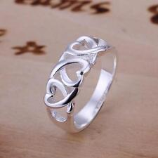 Womens Ladies Silver Plated Fashion Jewelry Hollow Heart Rings Size 8