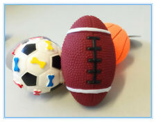 3 x Pet Dog Puppy Play Squeaky Toys: Football, Soccer & Basketball with Sound