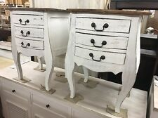 French Provincial Pair of Whitewash timber Bedside Tables side tables hamptons