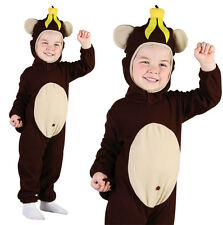 Childrens Kids Monkey Fancy Dress Costume Chimp Curious George Outfit 2-3 Yrs