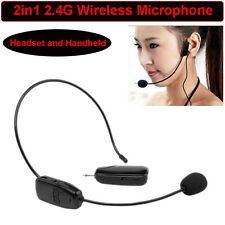 New Headset and Handheld 2.4GHz Wireless Microphone MIC Range FM & Plug Receiver