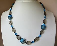 Glass beaded necklace in blues and grey N657