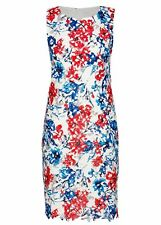 Red Blue LACE Floral PRINT white Lined Summer Tea Party Shift dress size 22 NEW