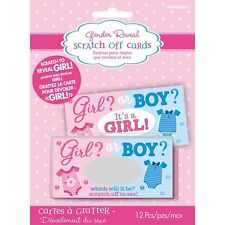 Gender Reveal Party Scratch Cards Pack of 12 - Reveal Girl