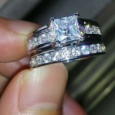 Antique Jewellery White Topaz Gemstones 925 Silver Wedding Ring Set Sz 8/Q Gift