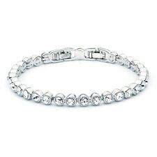 Tennis Bracelet White Gold w Swarovski Crystals GP Wedding Bridal Authentic MYJS
